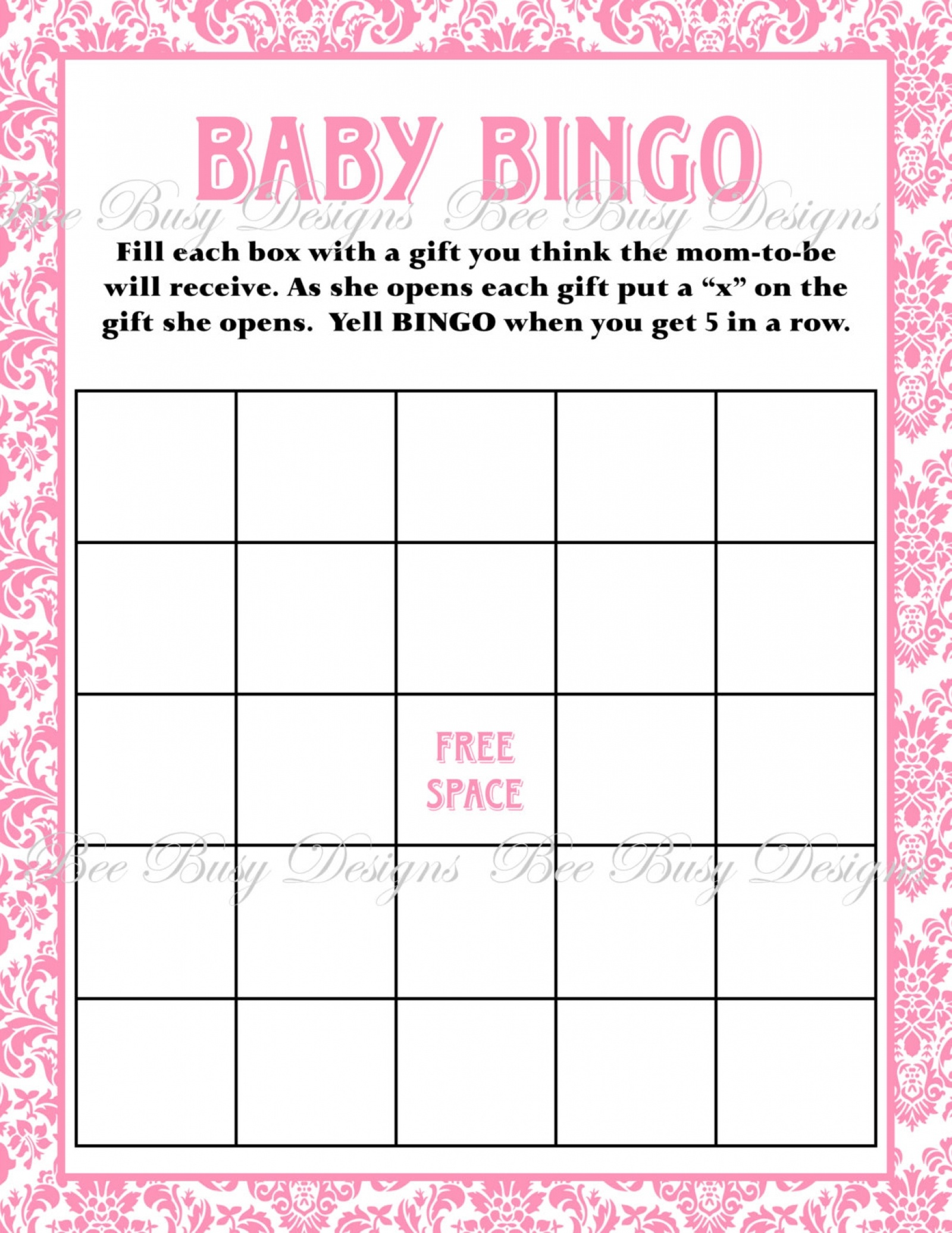Printable Pink Damask Baby Shower Bingo Game Instant Download   Bee - Baby Bingo Game Free Printable