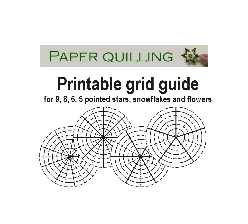 Printable Quilling Grid Guide For 5, 6, 8, 9 Pointed Stars - Free Printable Quilling Patterns