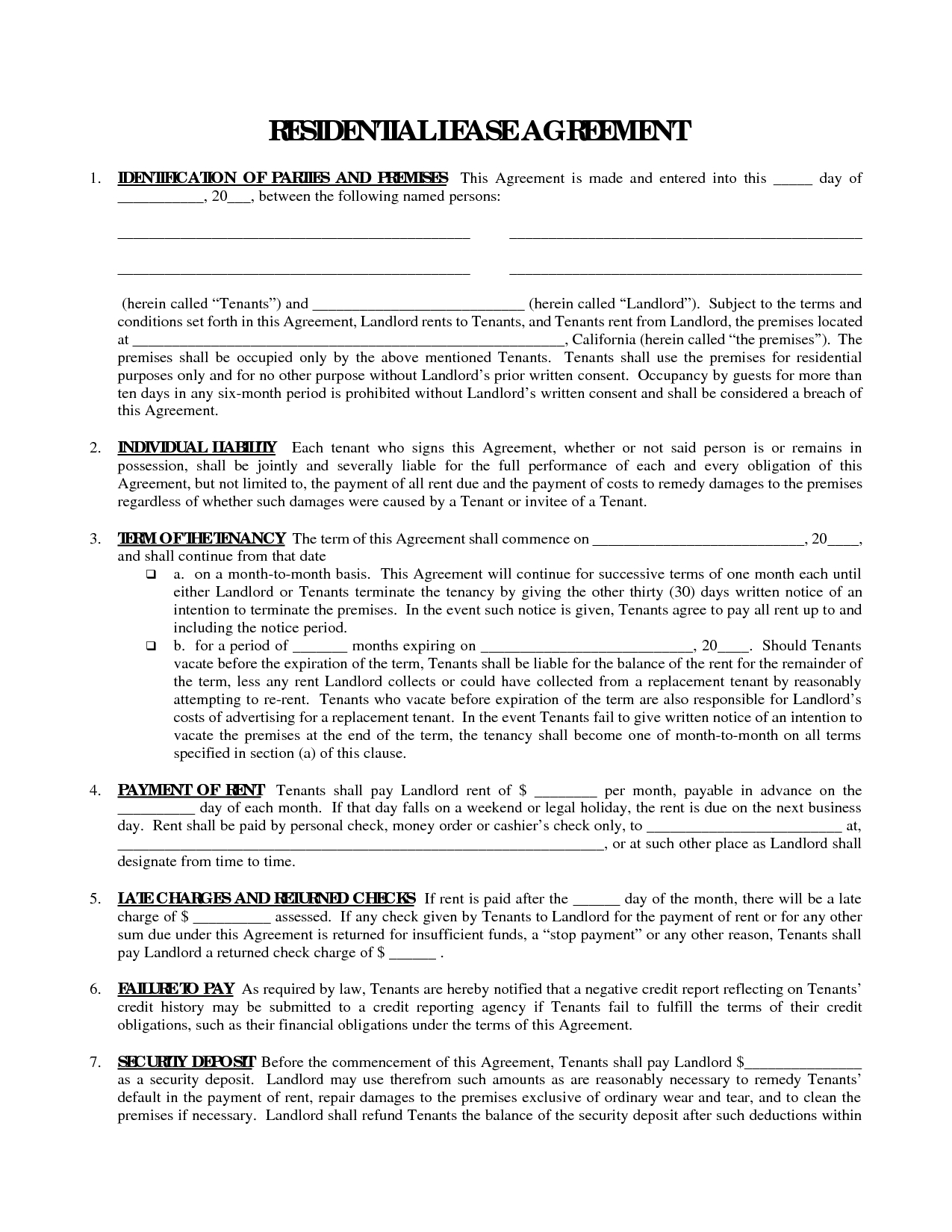 Printable Residential Free House Lease Agreement | Residential Lease - Blank Lease Agreement Free Printable