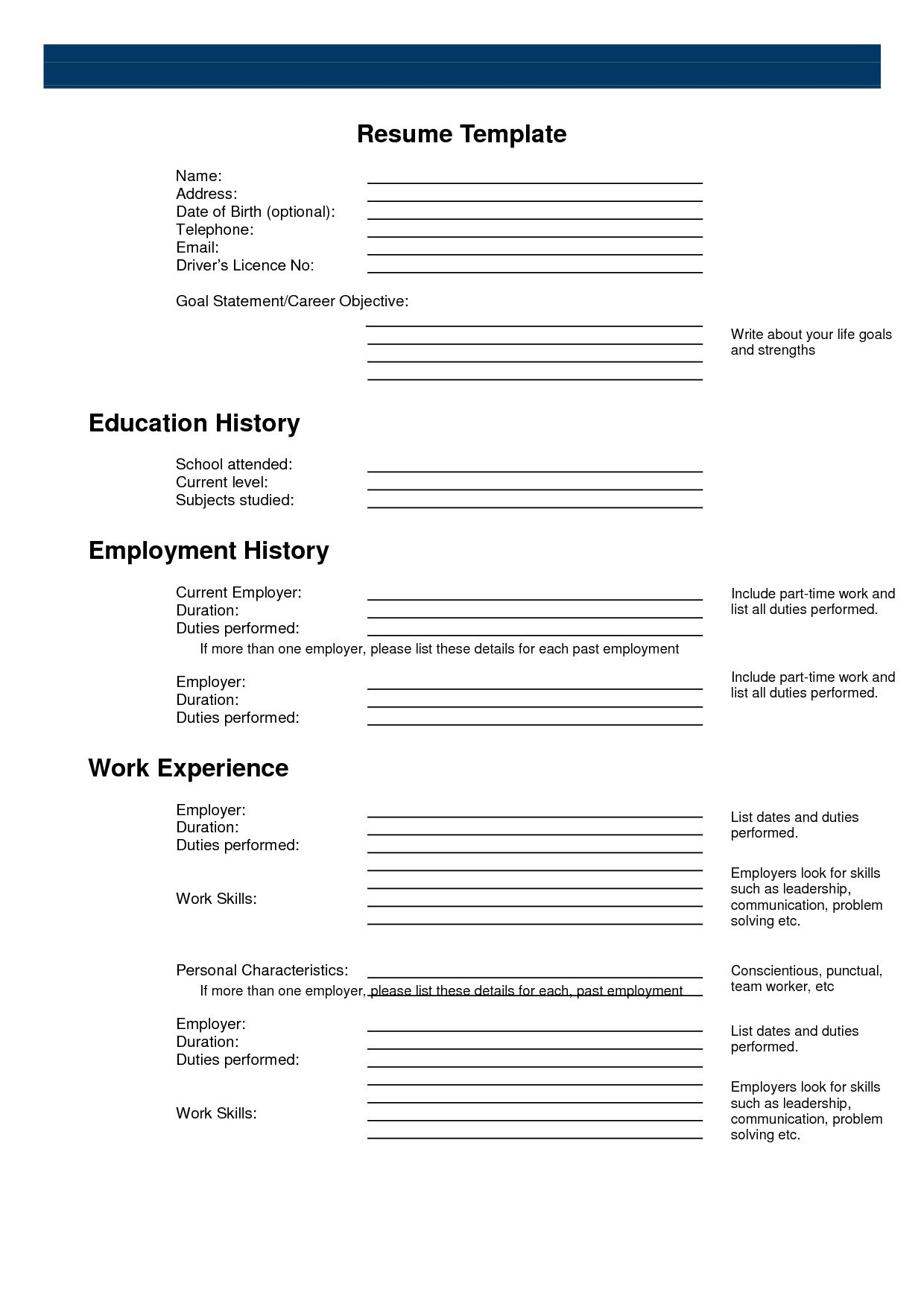 Printable Resume Form Surprising Inspiration Templates 2 Sample - Free Printable Fill In The Blank Resume Templates