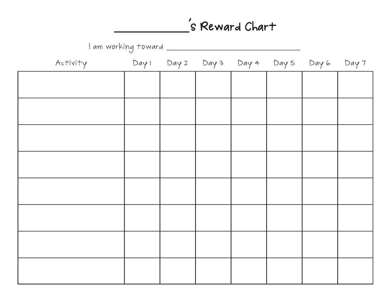 Printable Reward Chart Template | Printable Reward Charts Template - Free Printable Reward Charts