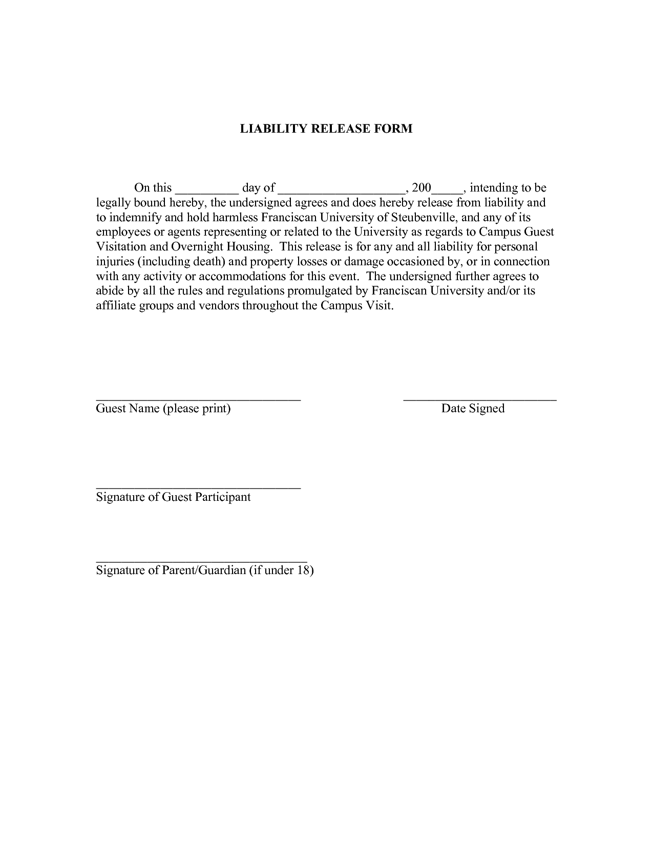 Printable Sample Liability Form Form | Legal Template In 2019 - Free Printable Legal Documents Forms