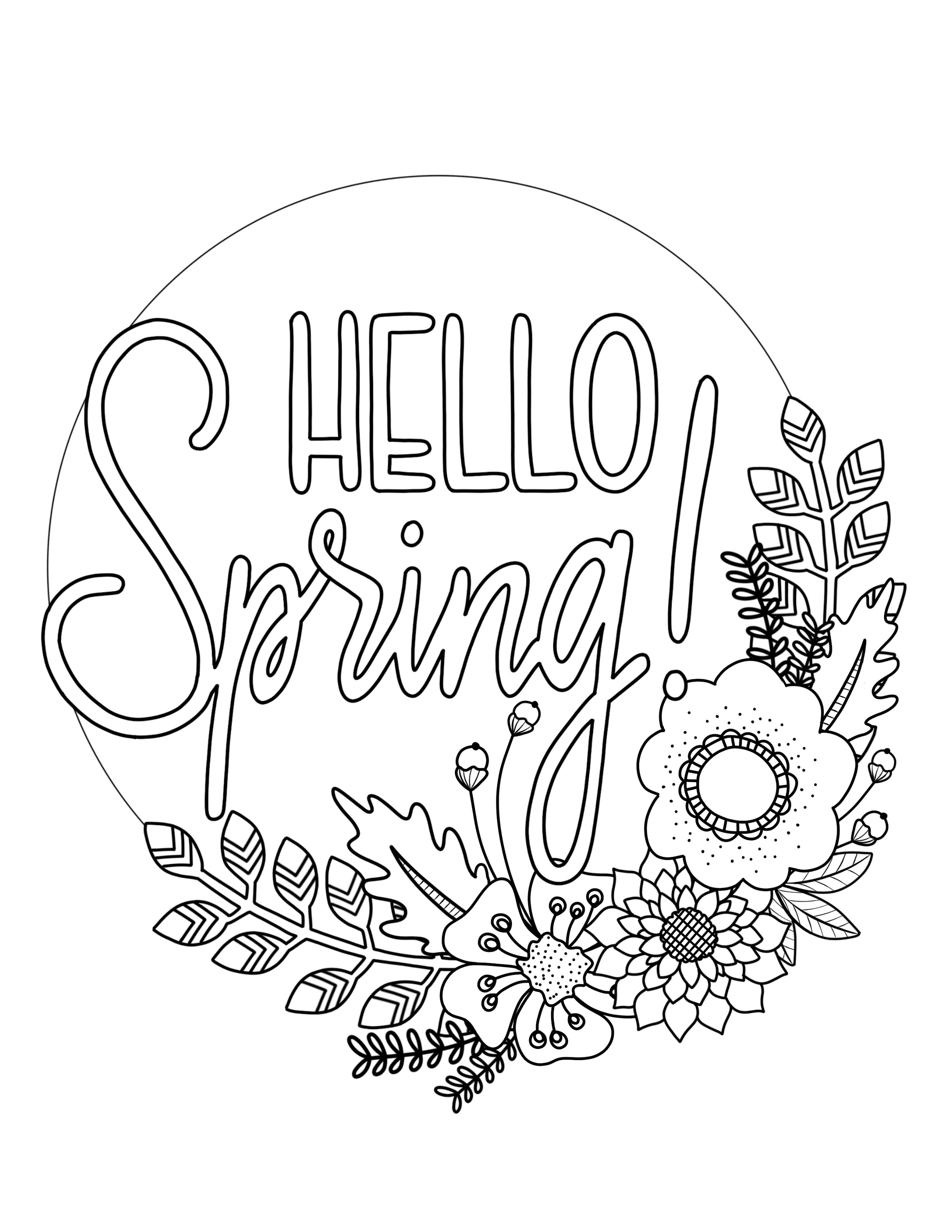 Printable Spring Coloring Page - Over The Big Moon - Free Printable Spring Coloring Pages