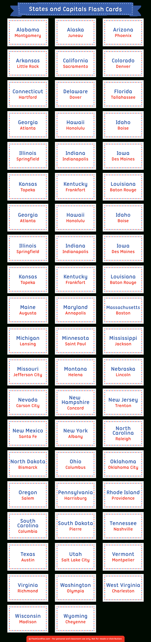 Printable States And Capitals Flash Cards - State Capital Flashcards Printable Free