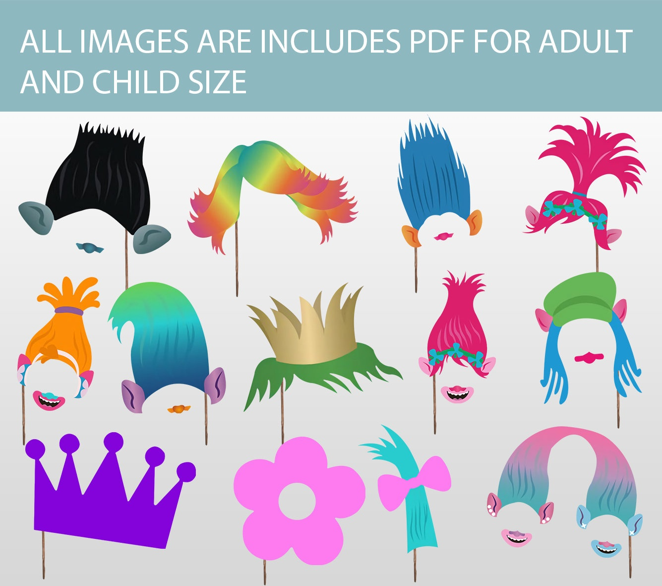 Printable Trolls Photo Booth Props Instant Download Trolls | Etsy - Free Trolls Photo Booth Props Printable