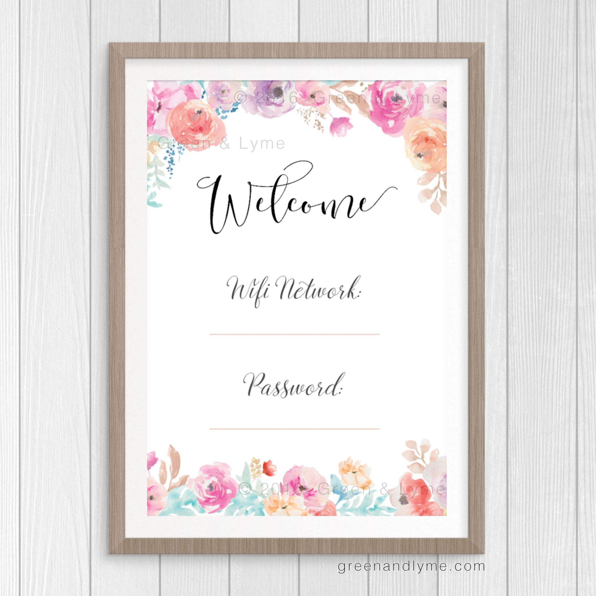 Printable Wall Art: Wifi Password Print In 2019 | • Apartment - Free Wifi Password Printable