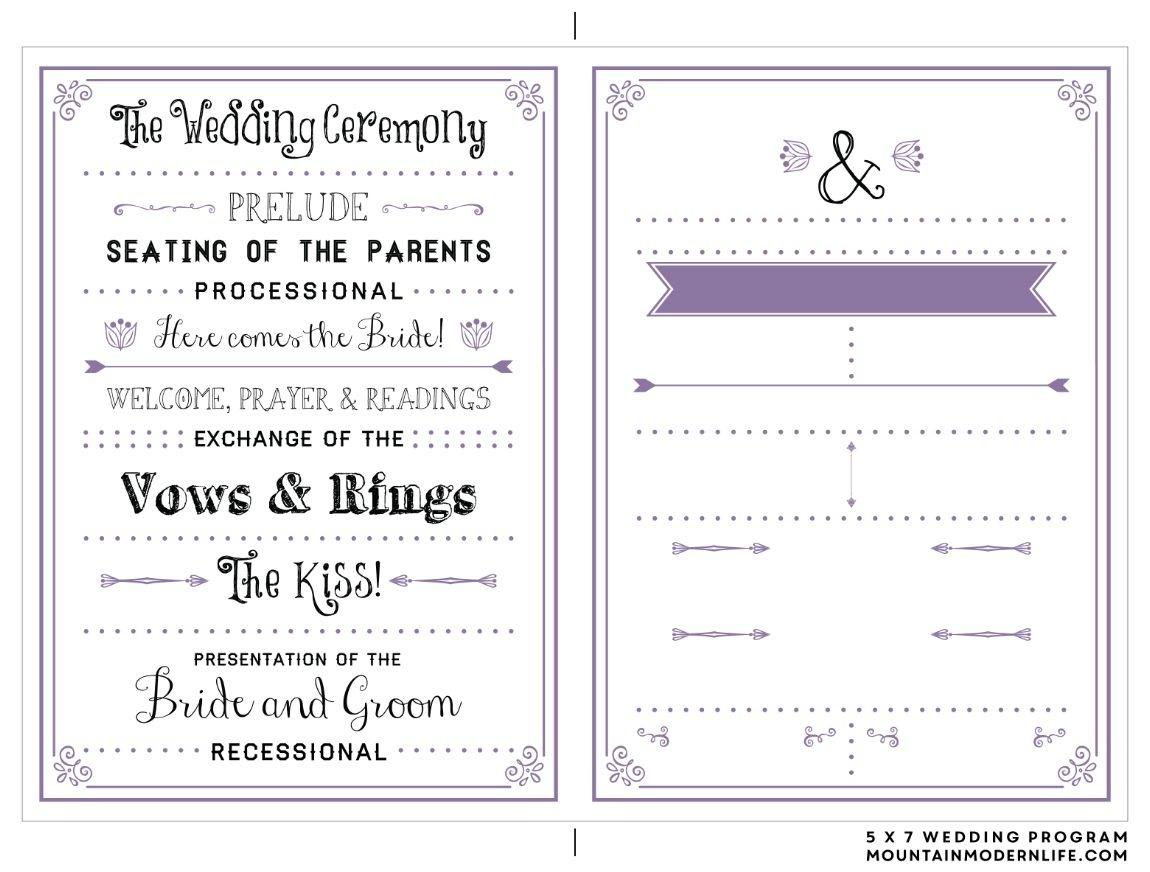 Printable Wedding Programs - Kaza.psstech.co - Free Printable Wedding Program Samples