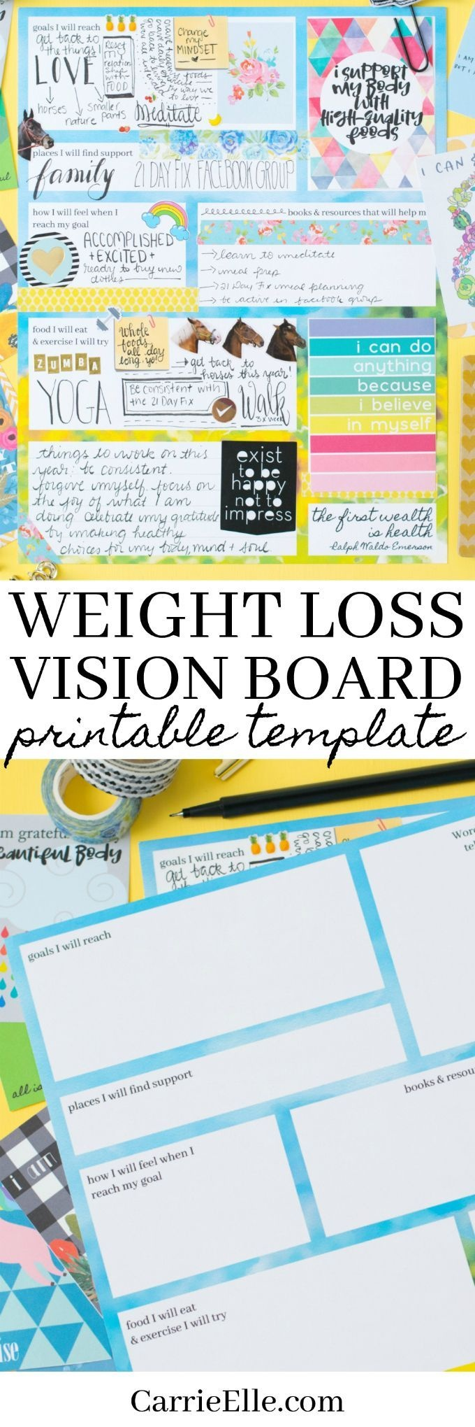 Printable Weight Loss Vision Board Template   Weight Loss   Vision - Free Weight Loss Vision Board Printables