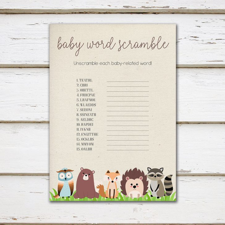 Woodland Baby Shower Games Free Printables