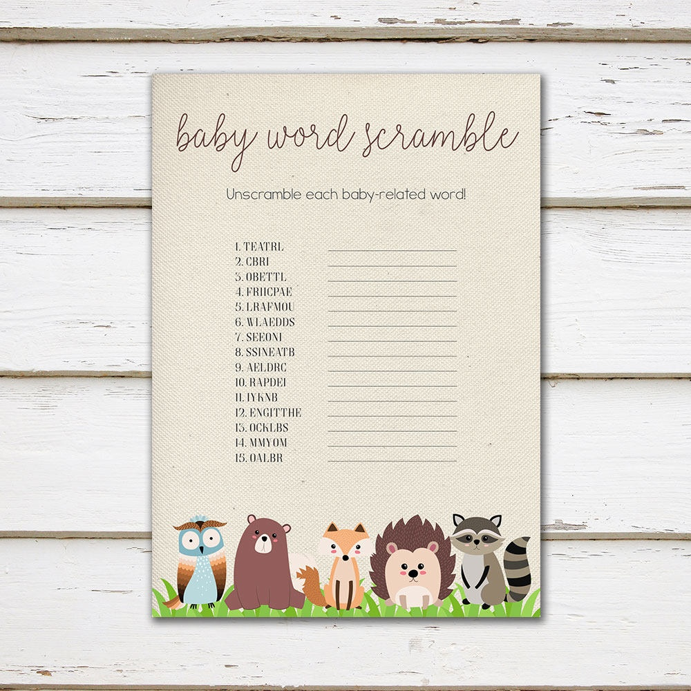 Printable Woodland Baby Shower Game, Word Scramble, Baby Shower Word - Woodland Baby Shower Games Free Printables