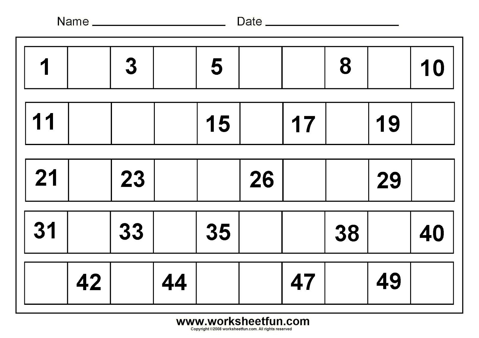 Printables For Kindergarten | Free Printable Math Worksheets For - Free Printable Numbers 1 50