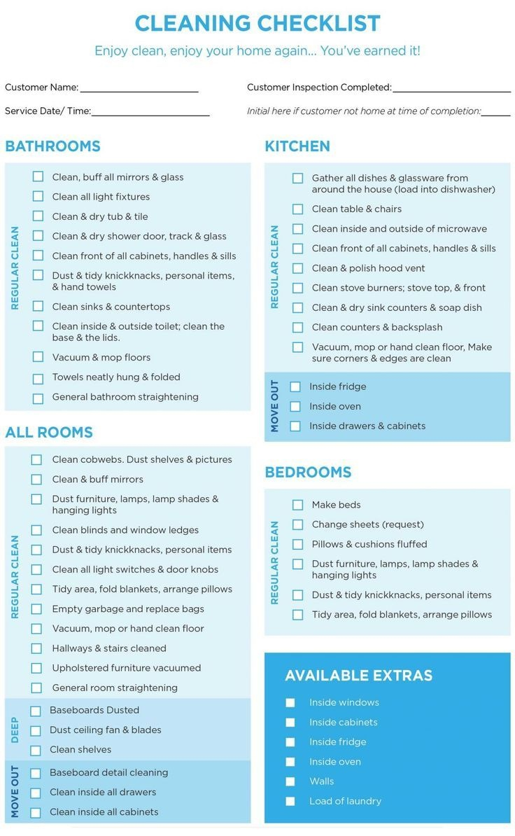 Professional House Cleaning Checklist Template Word For Maid In - Free Printable House Cleaning Checklist For Maid