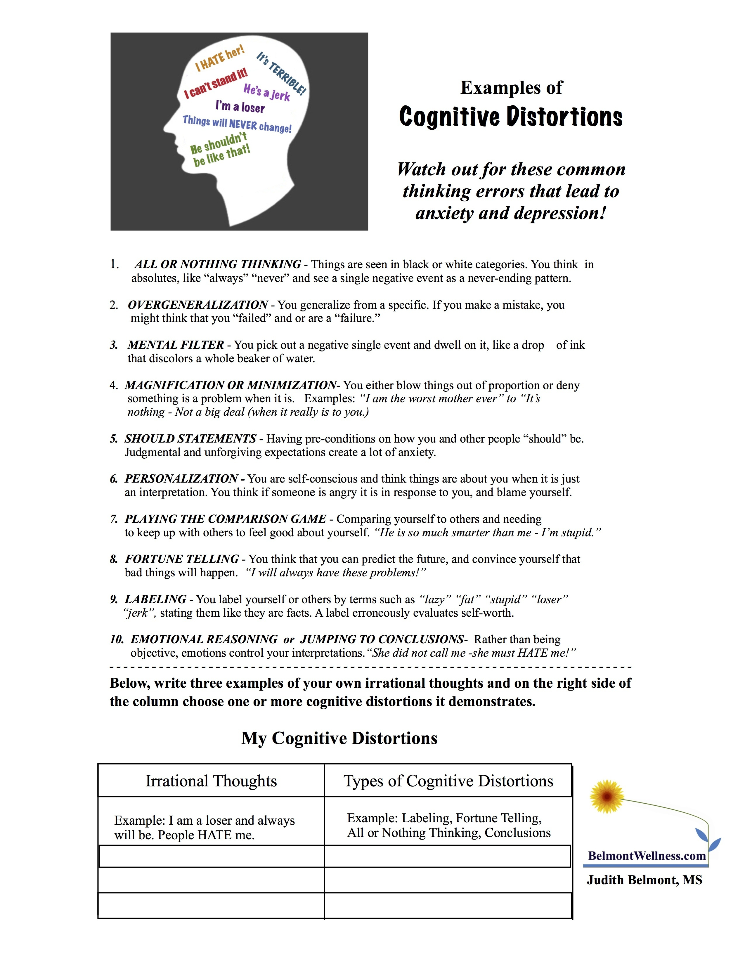 Psycho-Educational And Mental Health Worksheets And Handouts - Free Printable Mental Health Worksheets