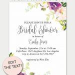 Purple Floral Printable Bridal Shower Invitation | Invitations   Free Printable Bridal Shower Invitations Templates