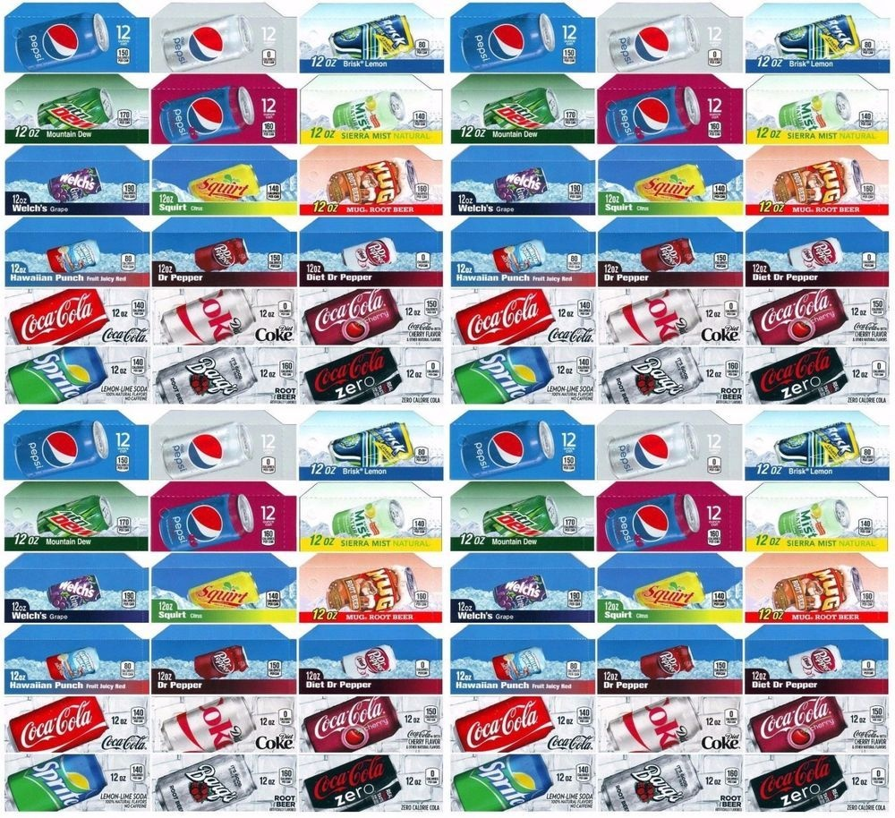 Qty 72 Coke Or Soda Machine Vending Variety Label Pack - Late Style - Free Printable Vending Machine Labels