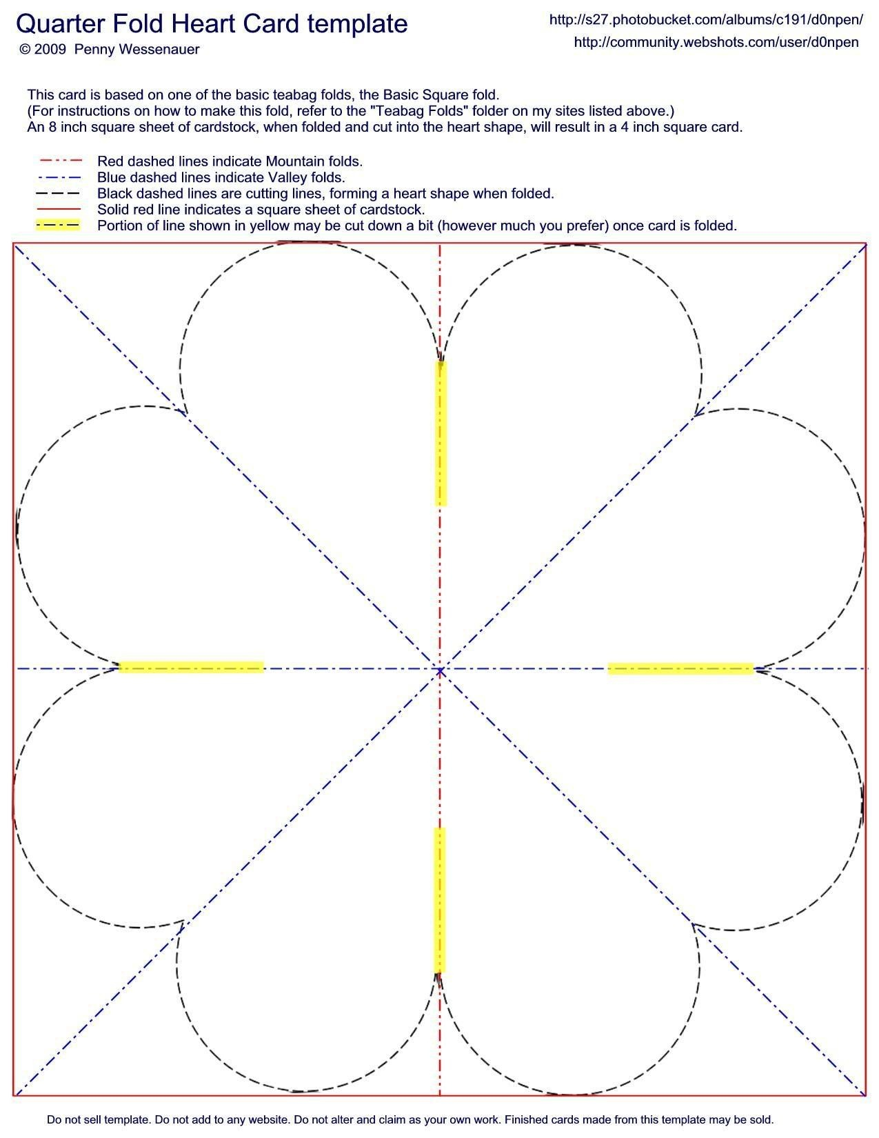 Quarter-Fold Heart Card Template | Valentines | Card Making - Free Printable Quarter Fold Christmas Cards