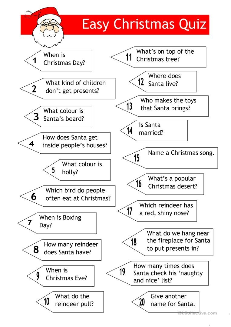 Quiz - Easy Xmas Quiz Worksheet - Free Esl Printable Worksheets Made - Free Christmas Picture Quiz Questions And Answers Printable
