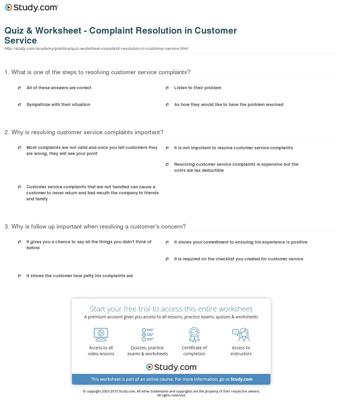 Quiz & Worksheet - Complaint Resolution In Customer Service | Study - Free Printable Customer Service Worksheets