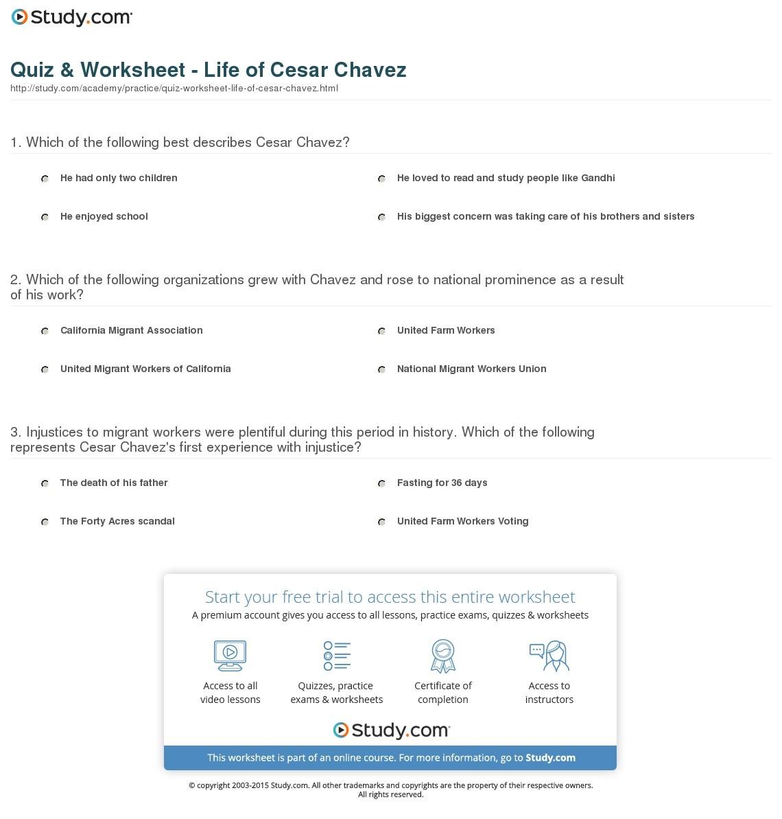 Quiz & Worksheet - Life Of Cesar Chavez | Study - Cesar Chavez Free Printable Worksheets