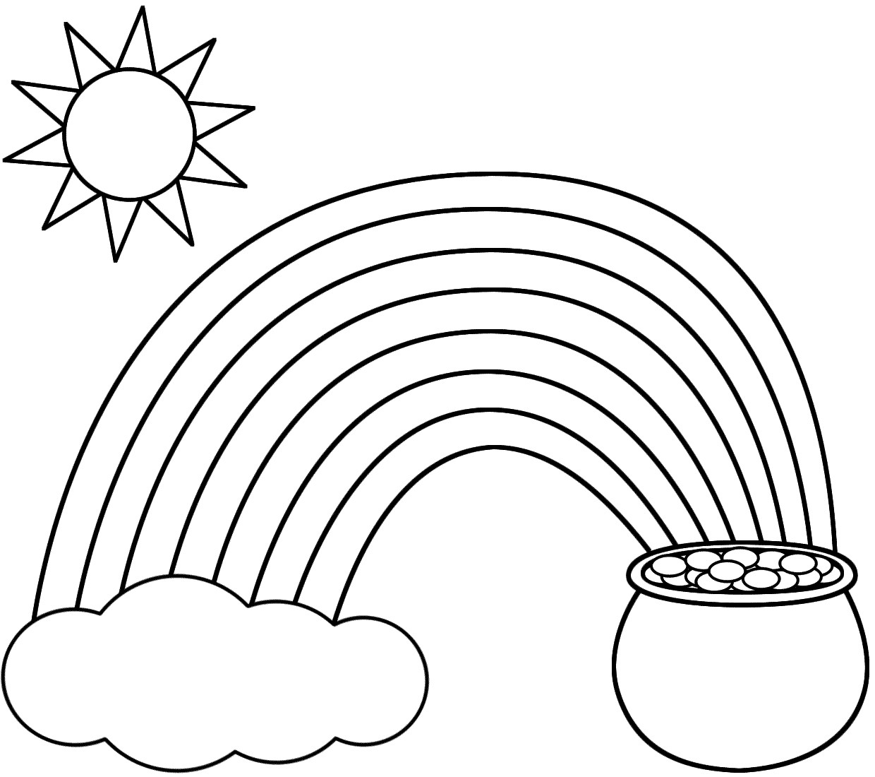 Rainbow Coloring Pages Free Printable Unique Rainbow Pot Of Gold Sun - Free Printable Rainbow Pictures