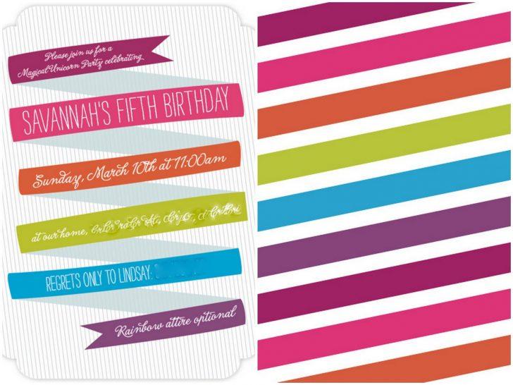 Free Printable Rainbow Unicorn Invitations
