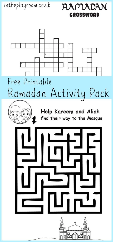 Ramadan Maze And Crossword Printable Activities - In The Playroom - Free Printable Activities For Kids