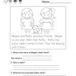 Reading Comprehension Worksheet   Free Kindergarten English   Free Printable English Reading Worksheets For Kindergarten