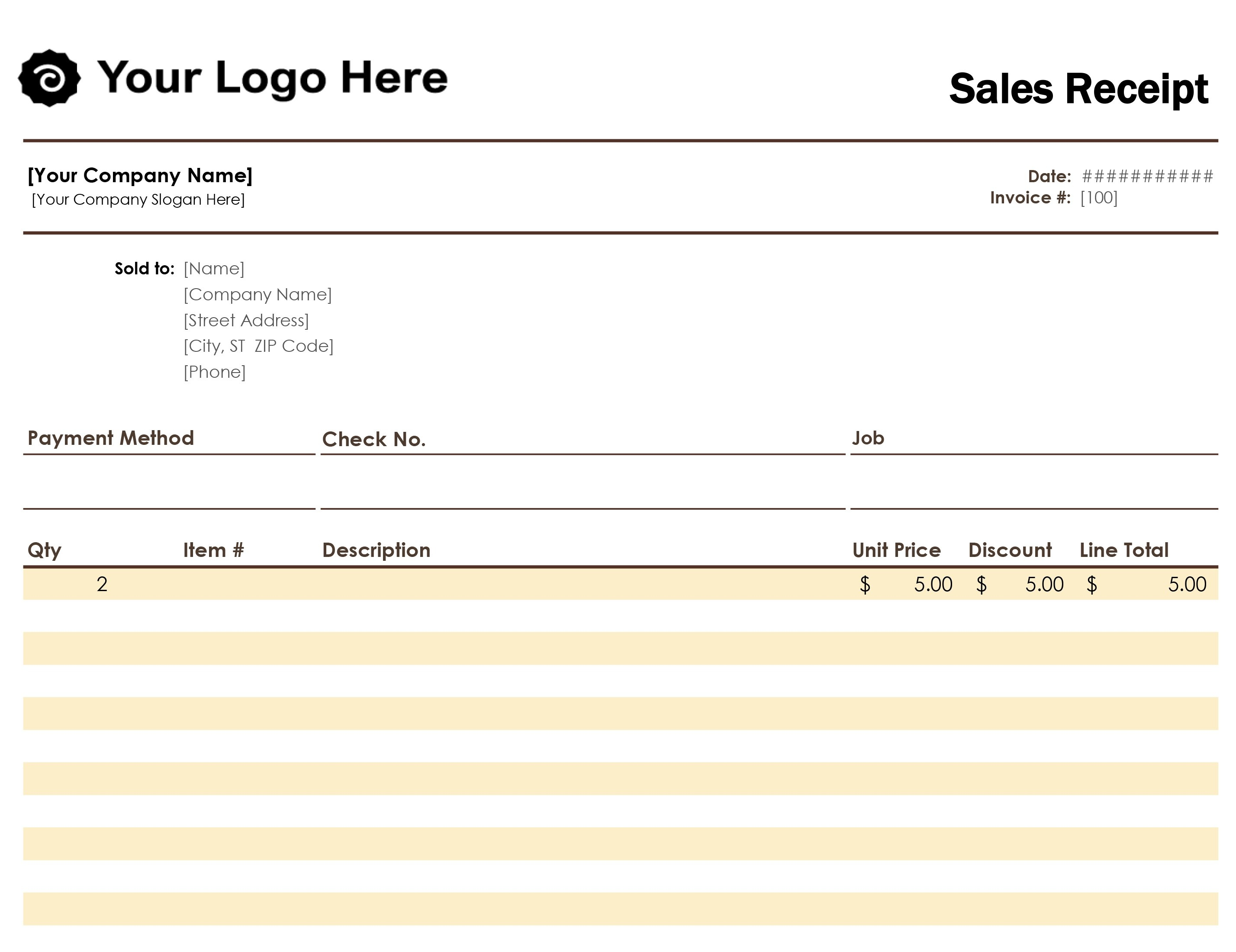 Receipts - Office - Free Printable Blank Receipt Form