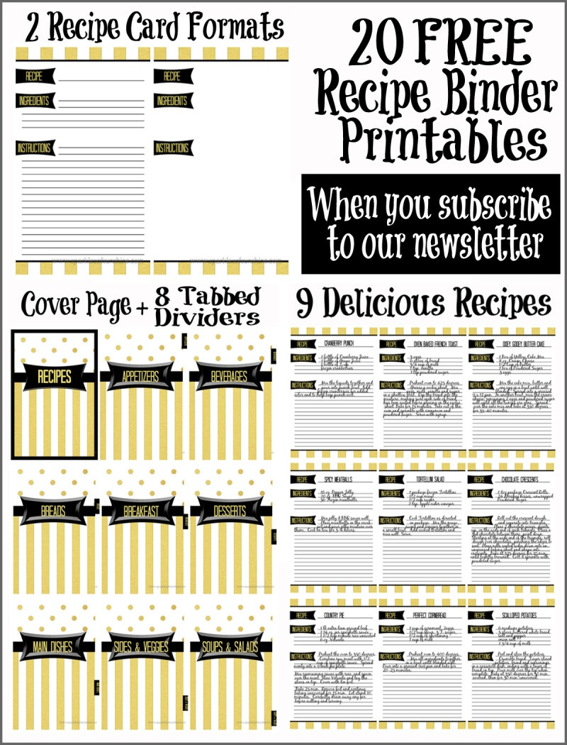 Recipe Binder Organization With Free Printables - Sparkles Of Sunshine - Free Printable Tabs For Binders