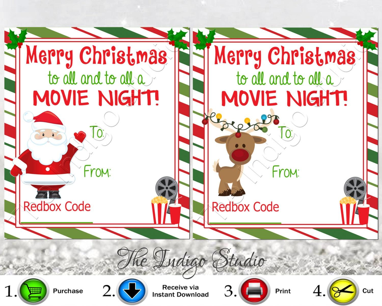 Redbox Codes Gift Tags Cards Digital Printable 4 Different | Etsy - Free Printable Redbox Gift Tags