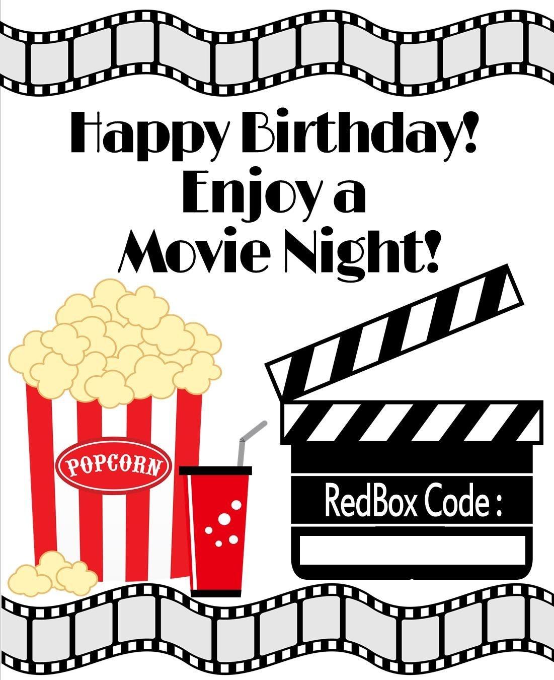 Redbox Printable Birthday Gift Tag - Diy - Printable File - Free Printable Redbox Gift Tags