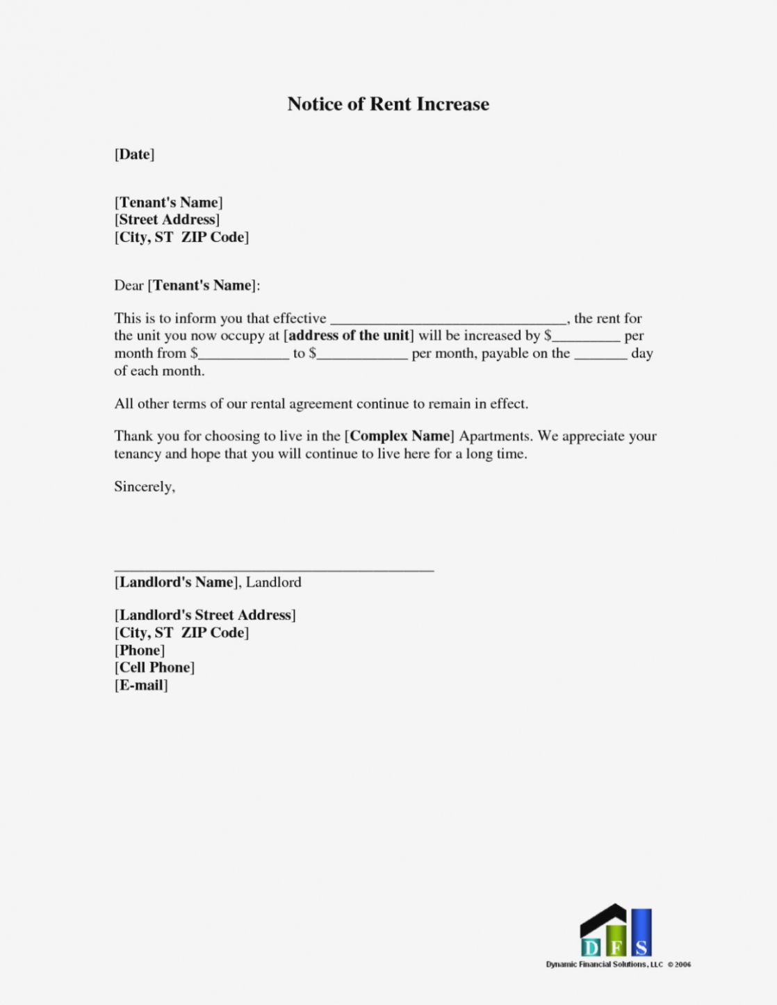 Rent Increase Letter To Tenant Template - Free Printable Rent Increase Letter Uk