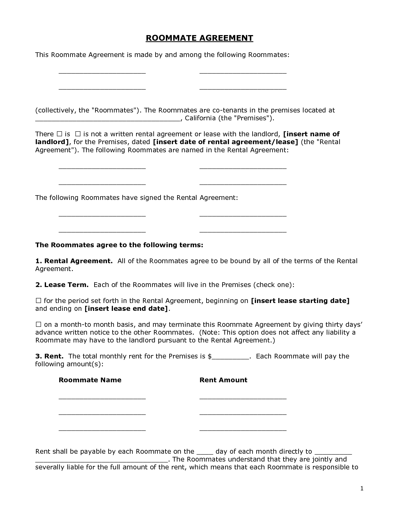 Renters Agreement Form - Docbgf31721 - Roommate Agreement - Free Printable Roommate Rental Agreement