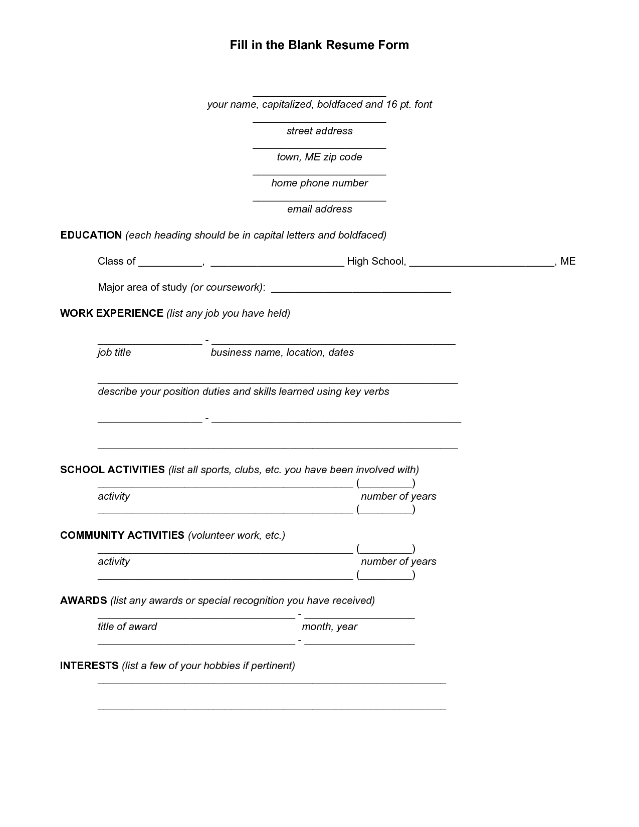 Resume Blank Forms To Fill Out | Fill In The Blank Resume Form - Pdf - Free Blank Resume Forms Printable
