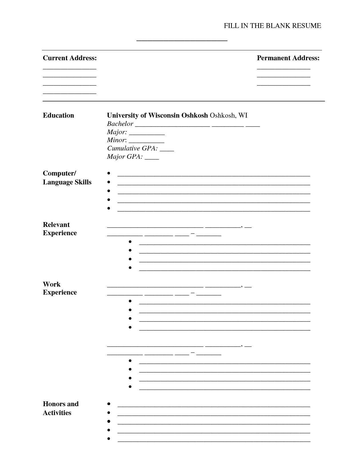 Resume Templates Blank Free Printable New Free Printable Resume - Free Printable Fill In The Blank Resume Templates