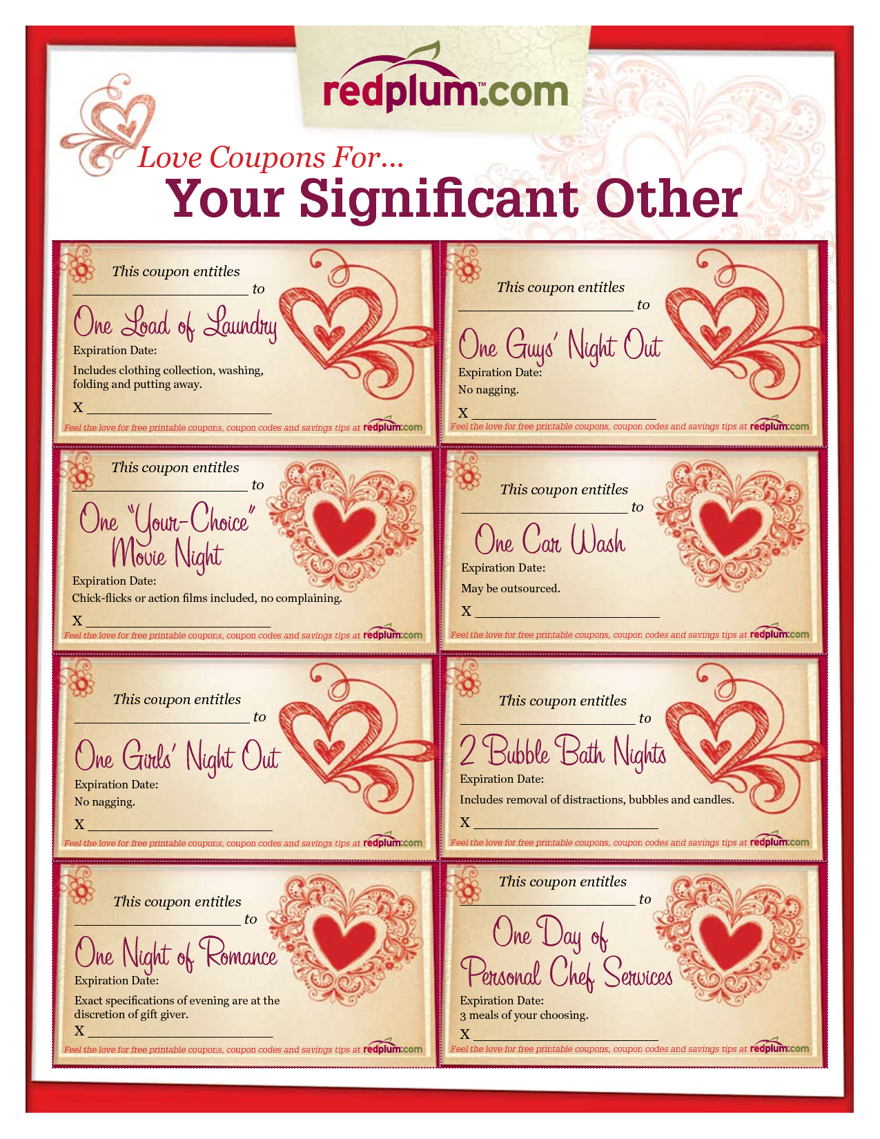 Romantic Love Coupon Template Printable | Love Coupons For Your - Free Printable Love Coupons For Wife
