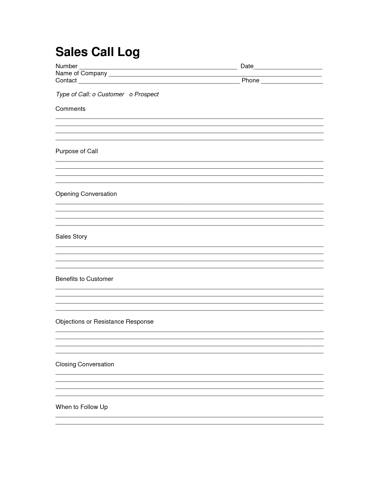 Sales Log Sheet Template | Sales Call Log Template | Call Log - Free Printable Customer Information Sheets