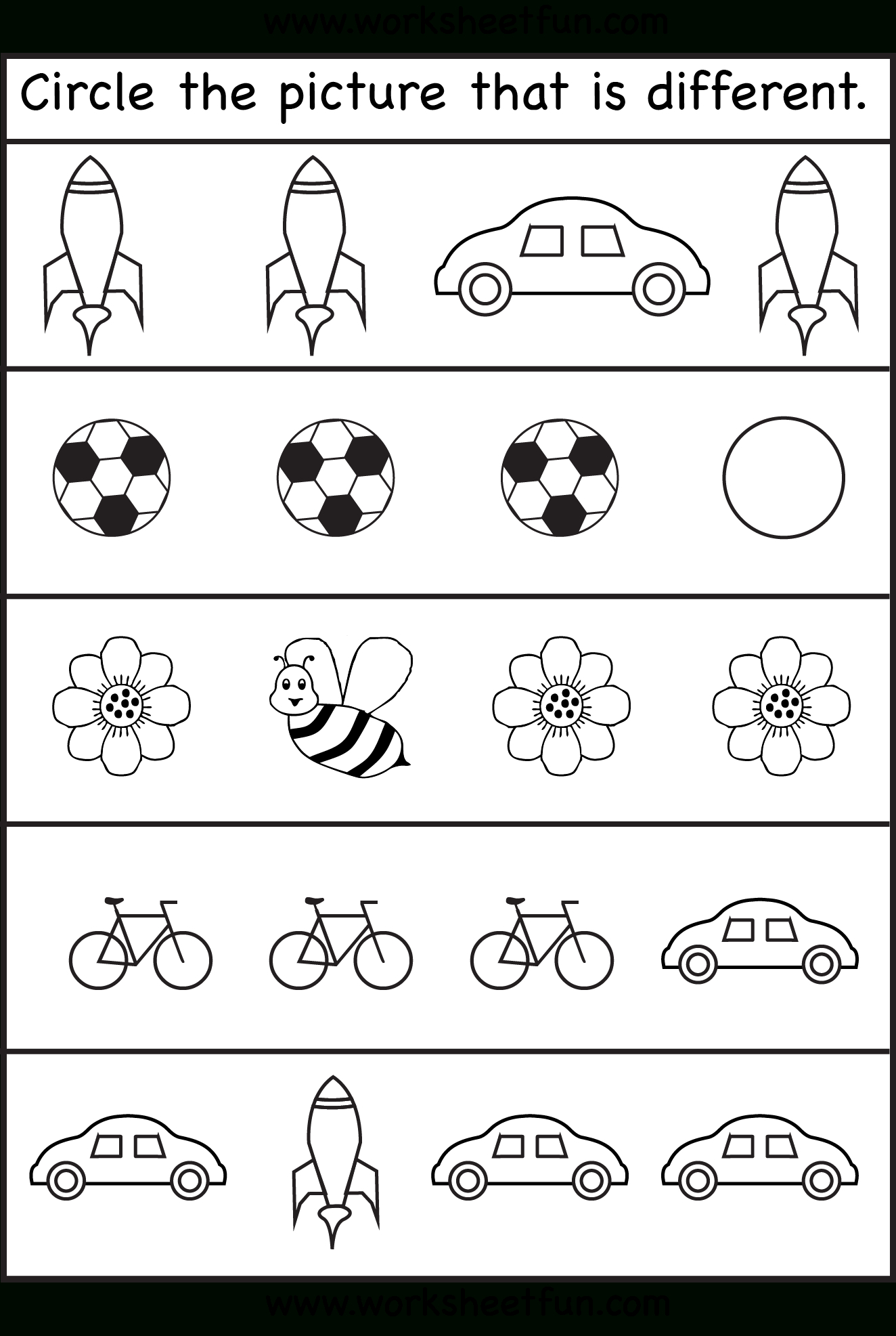 Same Or Different Worksheets For Toddler | Print | Kindergarten - Free Printable Worksheets For 3 Year Olds