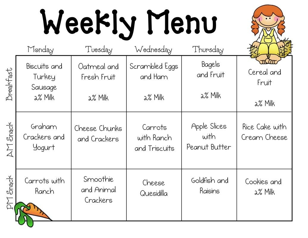 Sample Daycare Menu Templates | Preschool | Daycare Menu, Toddler - Free Printable Daycare Menus