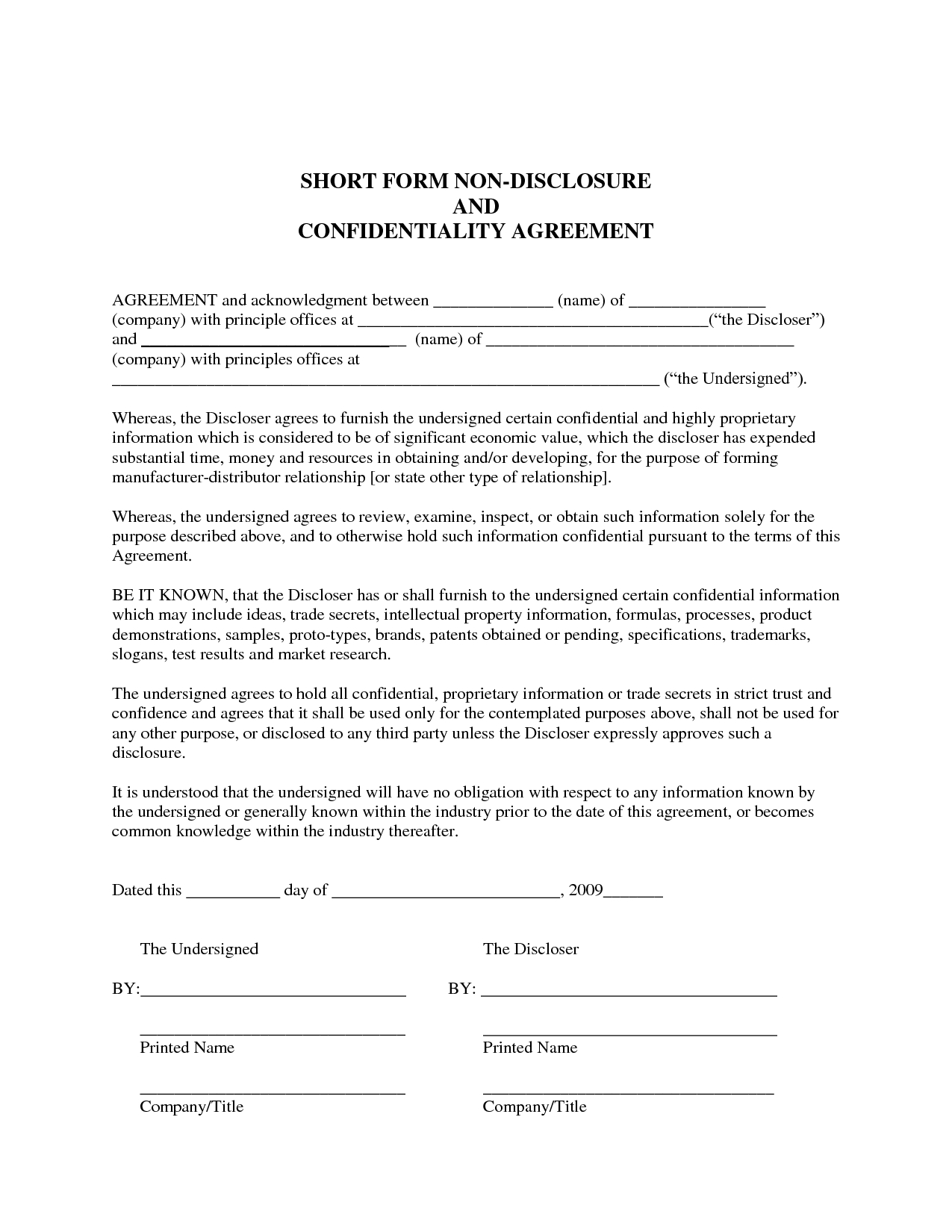 Sample Non-Disclosure Agreement | Confidentiality Agreement Sample - Free Printable Non Disclosure Agreement Form