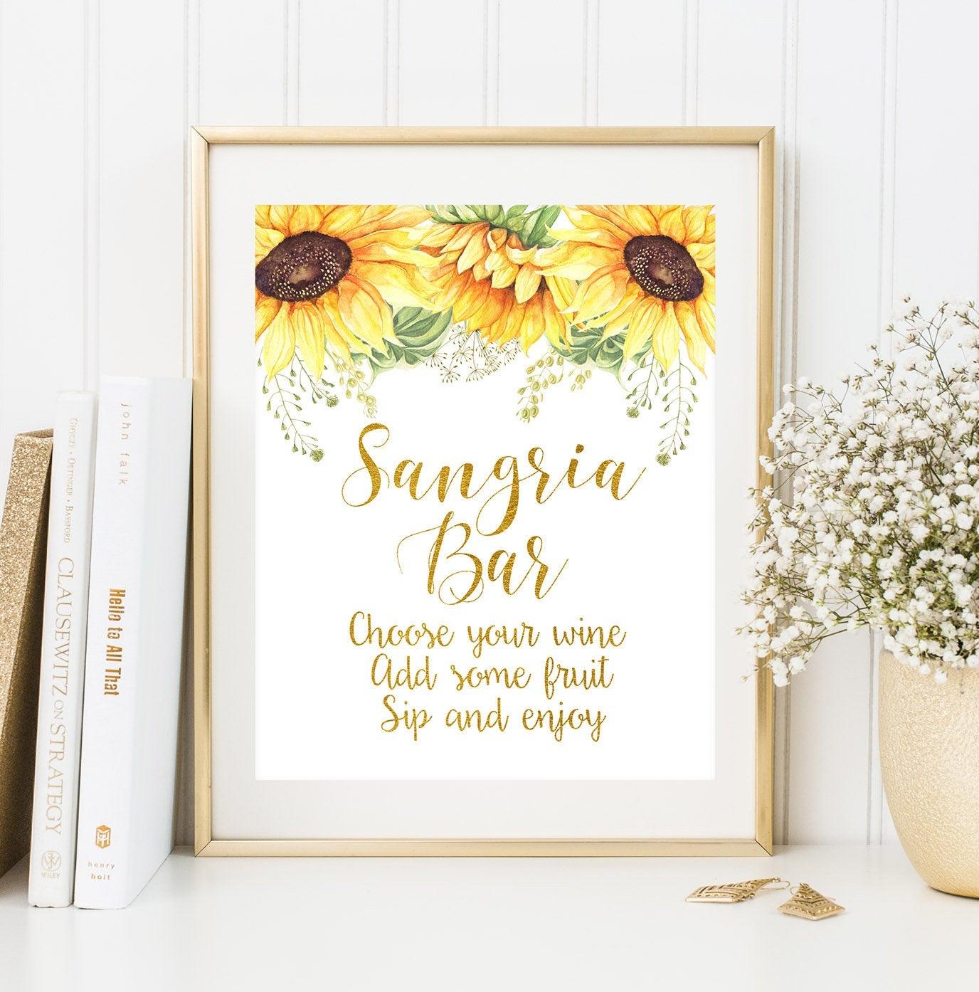 Sangria Bar Sign Printable Cocktails Sign Gold Wedding Bar | Etsy - Free Sangria Bar Sign Printable