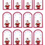 Santa Claus And Snowflakes, Free Printable Christmas Gift Tags   Christmas Name Tags Free Printable