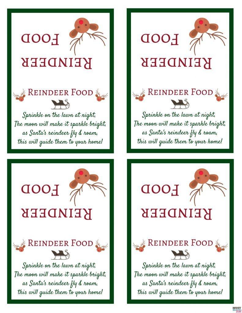 Santa's Magic Reindeer Food With Free Printable Bag Topper & Poem - Free Printable Reindeer Dust Poem