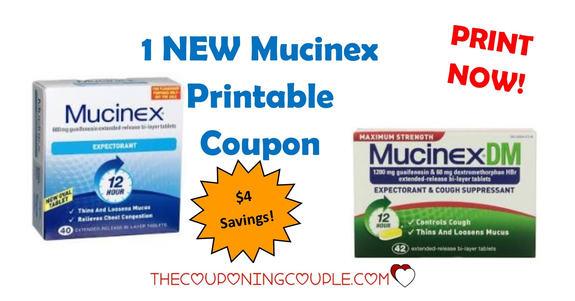 Save $4 On The New Mucinex Printable Coupon ~ Print Now! - Free Printable Walmart Coupons