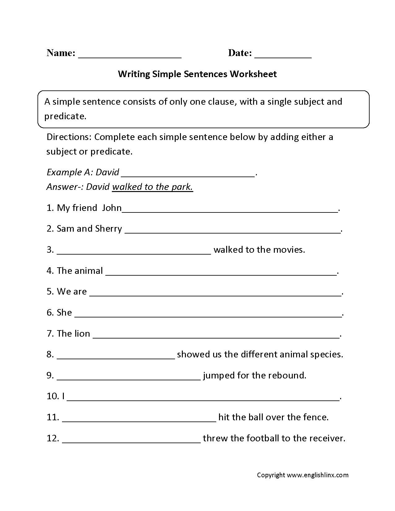 Sentences Worksheets | Simple Sentences Worksheets - 6Th Grade Writing Worksheets Printable Free