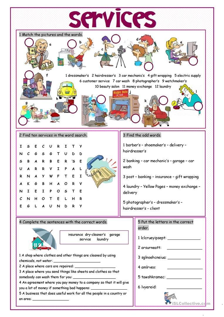 Services Vocabulary Exercises Worksheet - Free Esl Printable - Free Printable Customer Service Worksheets
