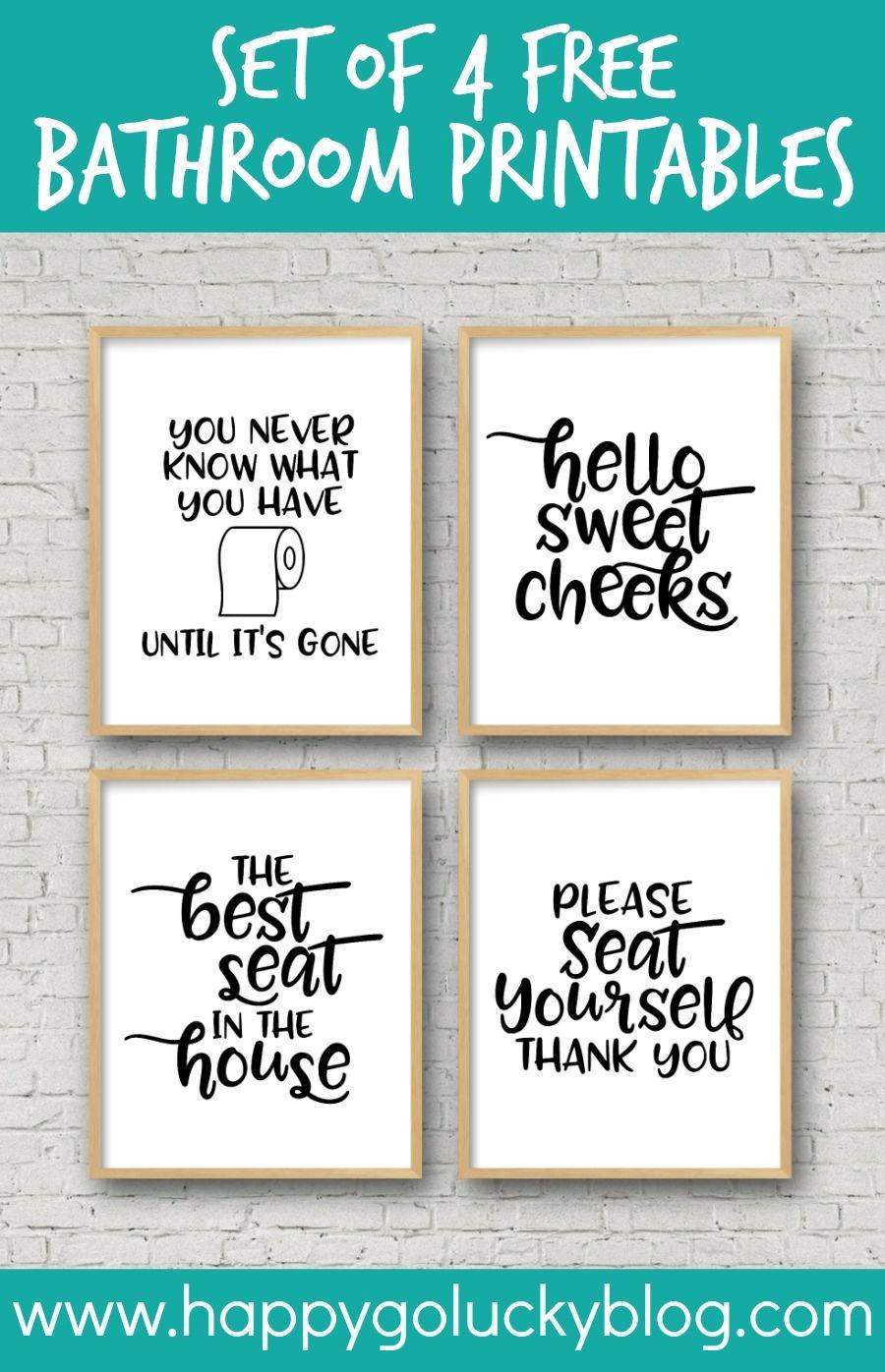 Set Of 4 Printable Bathroom Signs - Happy-Go-Lucky - Free Bathroom Printables