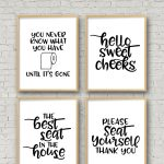 Set Of 4 Printable Bathroom Signs   Happy Go Lucky   Free Printable Bathroom Signs