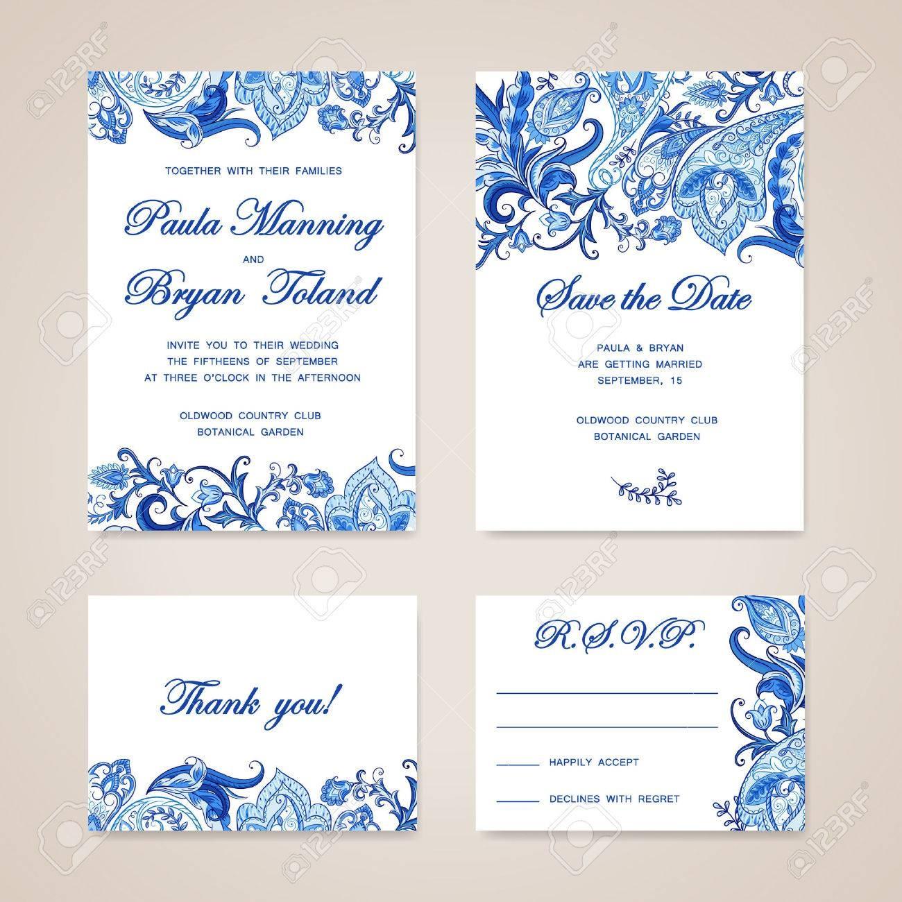 Set Of Wedding Invitation Card With Traditional Ethnic Flower - Wedding Invitation Cards Printable Free