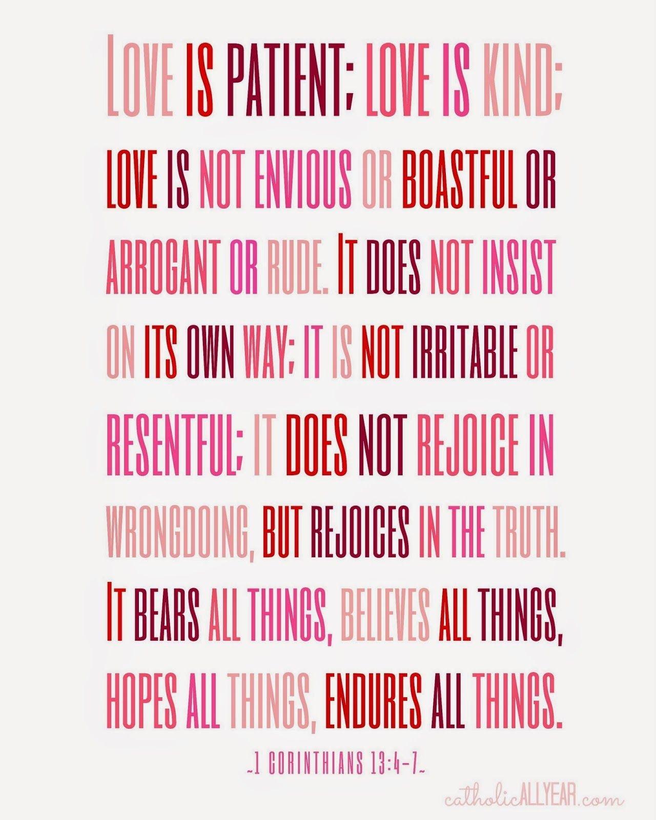 Seven Free Printable Catholic Valentines   Holidays   Catholic All - Love Is Patient Free Printable